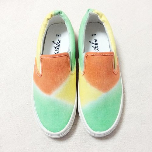Tropical slip (orange) LACICO hand-dyed tie-dyed sneakers orders production Rashiko