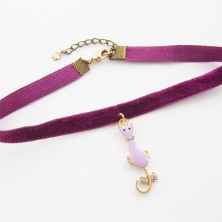 Purple velvet choker / necklace with cat charm.