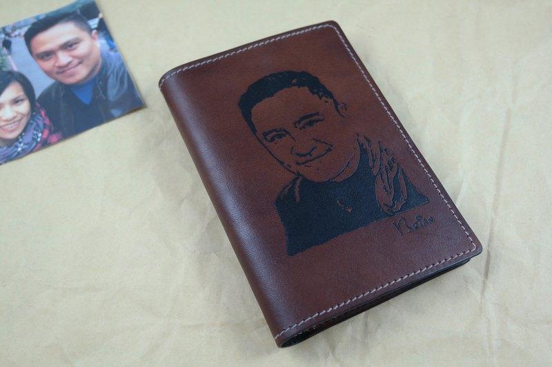 APEE皮手工~拓像護照夾~黑棕
