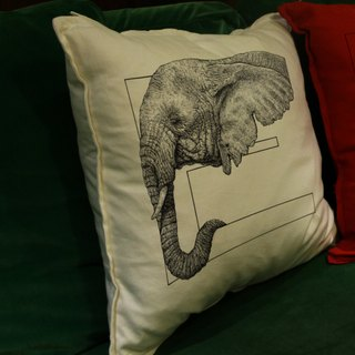 [E] lephant elephant: hand-painted letters pillow