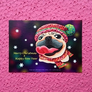 Postcard-Merry Christmas & Happy New Year Pug-02