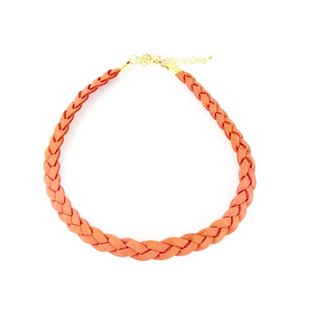 Orange - twist braid suede necklace