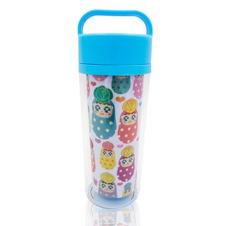 QQ tumbler hand-held thermal mug - blue