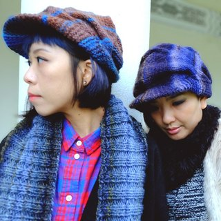 Araignee Design*Hand-made wool hat -News Boy retro weave newspaper hat*Dark blue brown brown gradient pattern