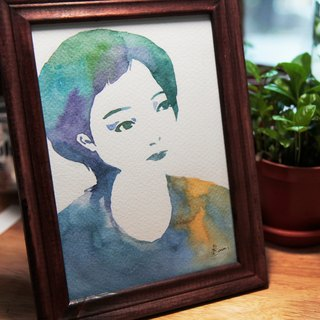 Style watercolor rendering custom portrait painting (excluding frame)
