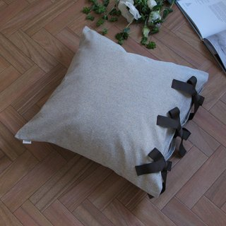 Cover only] canvas chambray cushion cover ribbon SQ