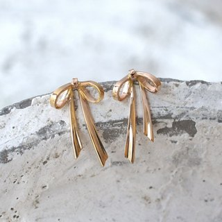 Ribbon Earrings (K18PG)
