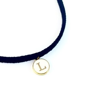 """Cashmere Leather - alphabetical Necklace"" (the letter can be customized)"