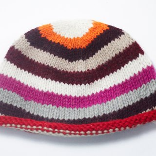 New Year gifts hand made of pure wool hat / knitted caps / wool cap (made in nepal) - gradient stripes