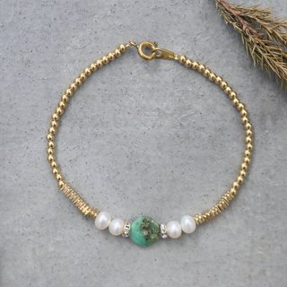 Amazonite pearl bracelet (little leaves)