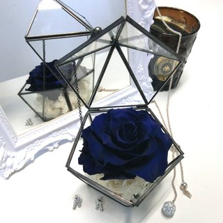 """Popular"" pentagon amaranth rose roses royal blue glass jewelry box"