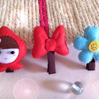 Non-woven ~ hairpin three groups ~ Q baby. Minnie bow. Flower clip