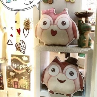 §HUKUROU§ pillow * hand-painted owl (public / small 32CM)