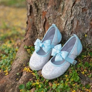 Crystal pink blue butterfly silver doll shoes