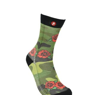 Hong Kong Design | Fool's Day stamp socks - Green Camouflage x Rose 00195