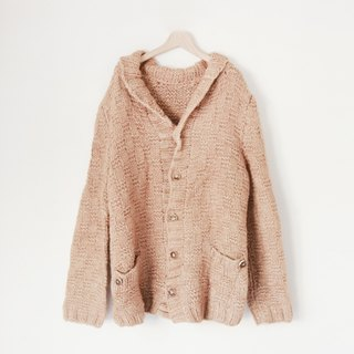 A ROOM MODEL - VINTAGE, CS-1589 light brown vintage cardigan sweater with a thick core needle Shimokitazawa