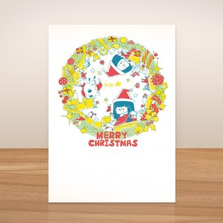 Pentagram ball / busy Christmas Circle - Postcards