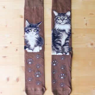 JHJ Design Canadian brand of high saturation knitting socks cat series Maine (M) cute kitty cat