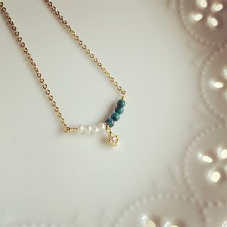 Turquoise pearl diamond necklace