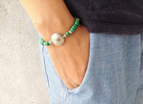 Natural stone bracelet - engraved green - retro trendy (green / vintage models / personality / accessories)