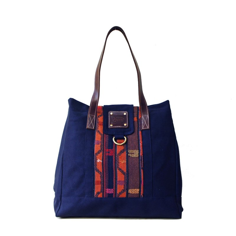 [Happa] personality Cikou tote bag - Hand knotted kilim paragraph (Navy Navy) accommodating the most convenient generous package