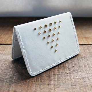 Gold studs/white leather card holder