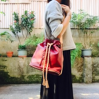 88Tailors full handmade cowhide woven color bucket bag