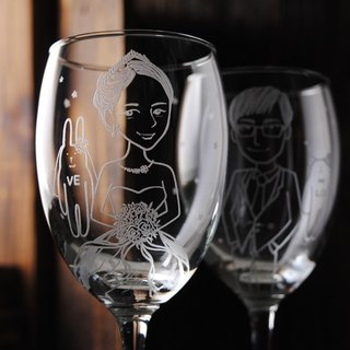 (One pair price) 350cc [MSA] Bunny Portrait of a cup (Comics Version) LOVE rabbit wedding bride and groom Portrait of red wine glass sculpture to commemorate Valentine's Day gift set of wine glasses engraved wedding gift customized