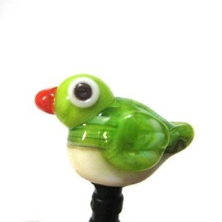 Birds series ~ (green embroidered eyes) glass phone dust plug