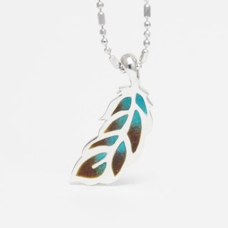 [Wonderland] parrot - enamel feather 925 silver necklace