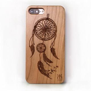 Custom solid wood iPhone Samsung mobile phone case, pure wood mobile phone case, personalized gifts, dream catcher