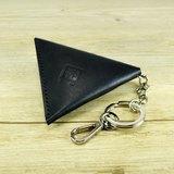 黑色植韖革手縫三角零錢包