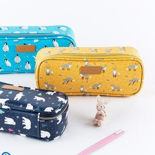 ARDIUM animal square pencil case / pencil case / cosmetic bag - mustard fox