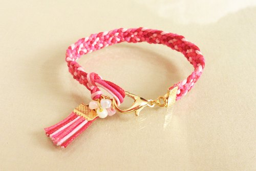 Fashion ethnic style color wax rope braided bracelet elegant red rose