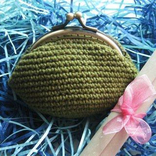 Minibobi hand-woven - bronze Qiaoqiao mouth gold bag / purse - olive green