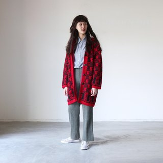 A ROOM MODEL - VINTAGE, CJ-3134 vintage red pattern knit coat with Shimokitazawa