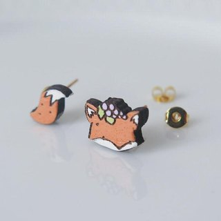 "Wooden Earring "" The Fox and the Grapes """