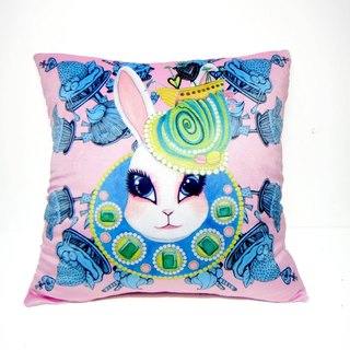 """Gookaso"" pink bunny cartoon printed pillow 45x45cm Queen original design"