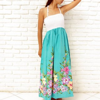Tropical Flower Long dress <mint green>