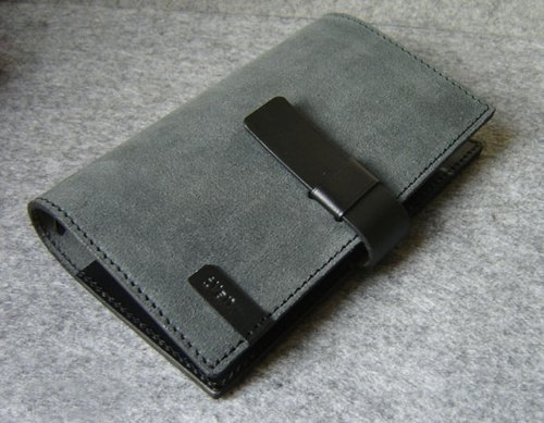 Handmade leather design U-Style Jumper's leather loose-leaf notebook A6-Size gray suede + black personality