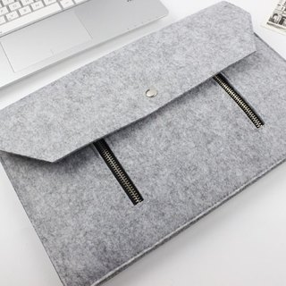 Original handmade light gray felt double zipper Microsoft computer protective cover blanket kit laptop bag package Bundle (2017) & keyboard (can be tailored) - ZMY005LGSP3