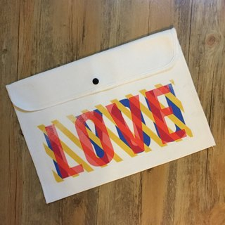 BatearsWorld hand-painted handprint LOVE file bag computer bag bag