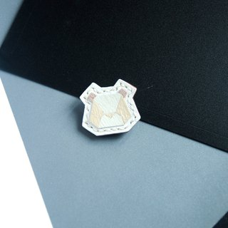 <Puzzle Series>  leather brooch - Bear (White Color)