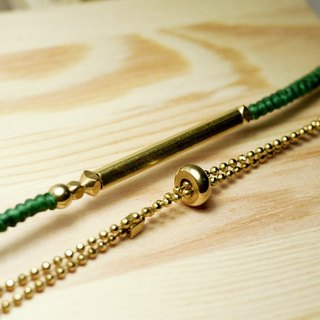 Square brass simple bead chain. Mix series. Wax rope/brass bracelet