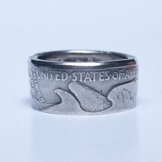 Dreamstation leather Pao Institute, the US silver half dollar silver ring handmade half dollar, hippie, thunder, heavy machine # 16