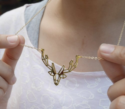 Deer , Geometric, Animal Necklace, Deer Jewelry, Animal Gifts, Gift for her