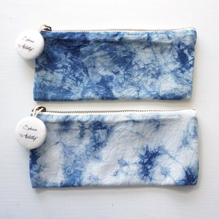 S.A x Sky, Indigo dyed Handmade Natural Pattern Pencil Case