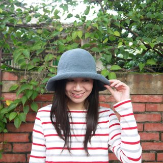 Mama の hand-made hat - handmade cotton rope crocheted hat / wide-brimmed hat - iron gray / gifts / Mother's Day