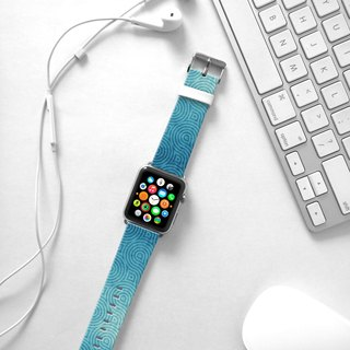 Apple Watch Series 1 , Series 2, Series 3 - Blue Wave Pattern Watch Strap Band for Apple Watch / Apple Watch Sport - 38 mm / 42 mm avilable