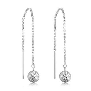 Hong Kong Design 14K / 585 white gold net gold hanging earrings